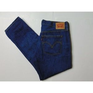 Levis 501 T 36x28 Tapered Blue Jeans Button Fly